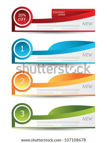 colorful number line banner design - stock vector
