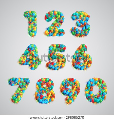 Colorful number made by balloons, vector - stock vector