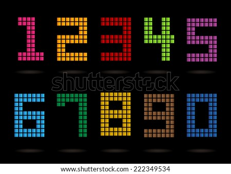 Colorful numbers set style.  - stock vector