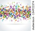Colorful numbers vector background - stock photo