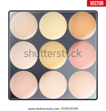 Colorful of Make Up Palette with warm shades. Eyes or face shadow. Beauty and cosmetics design. Editable Vector illustration Isolated on white background. - stock vector