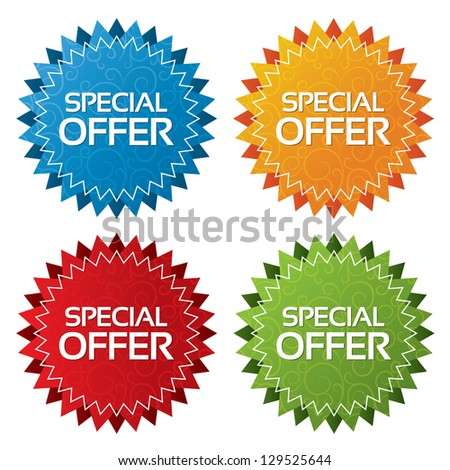 Colorful offer tags with textures collection (vector). Icons set. Special offer labels illustration (blue, green, red, orange). - stock vector