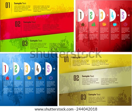 colorful old paper text box template for website computer graphic technology and internet, numbers. - stock vector