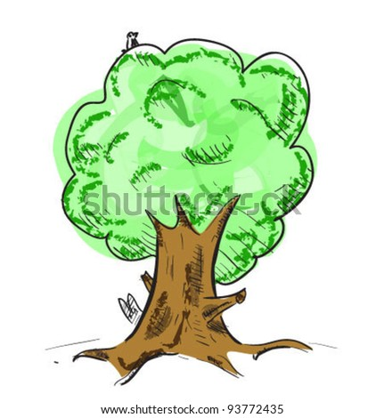 Colorful old tree with hiding animals cartoon icon. Sketch fast pencil hand drawing illustration in funny doodle style. - stock vector