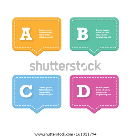 Colorful Option or Step by Step Speech Bubble - stock vector