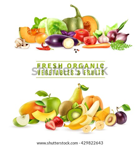 Colorful organic design concept with two collections of fresh vegetables and fruits in realistic style vector illustration - stock vector