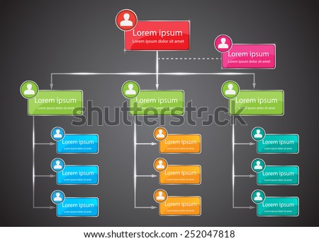 Colorful Organizational Chart Infographic, Human Picture & Business Structure Concept, Business Flowchart Work Process, Black Abstract Design, Vector Illustration - stock vector
