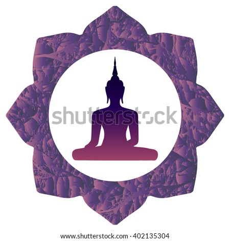 Colorful oriental illustration with silhouette of Thai Buddha in round and textured lotus flower on isolated white background in vector. Buddha icon design symbol of eastern religions - stock vector