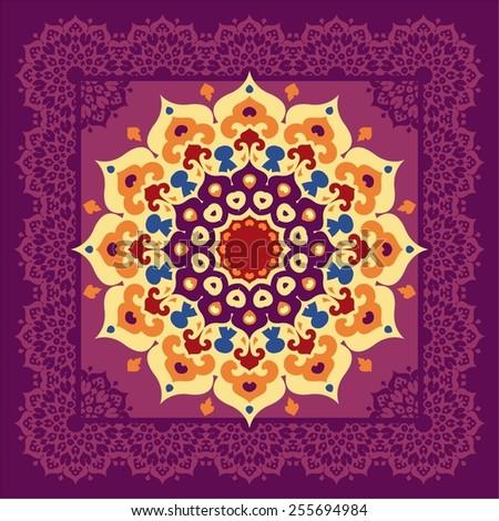 Colorful oriental mandala in lace frame. Islam, Arabic, Asian ornamental motifs - stock vector