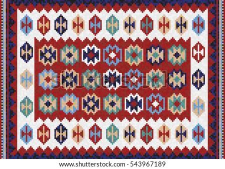 Rug And Kilim colorful mosaic kilim rug traditional stock vector