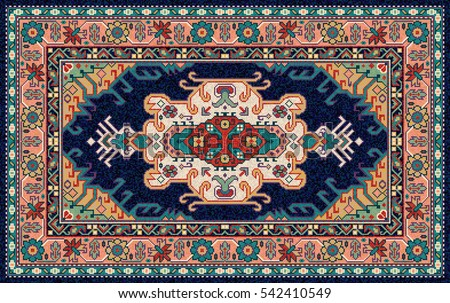 Colorful Oriental Mosaic Rug Traditional Folk Stock Vector