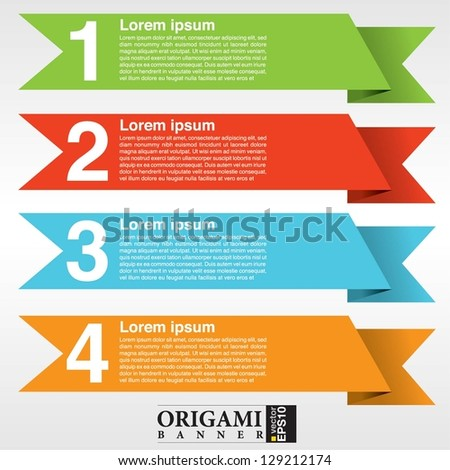 Colorful origami banner template vector.EPS10 - stock vector