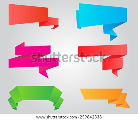 Colorful origami  banners set.Paper banners.Vector illustration. - stock vector