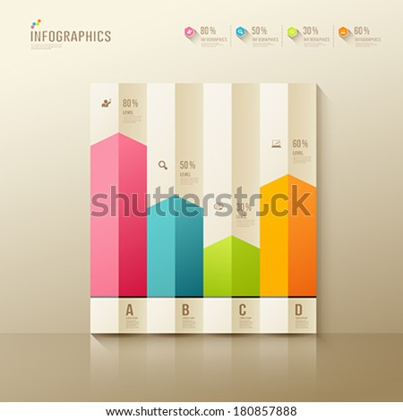 Colorful origami paper graph infographic, design background, vector illustration - stock vector