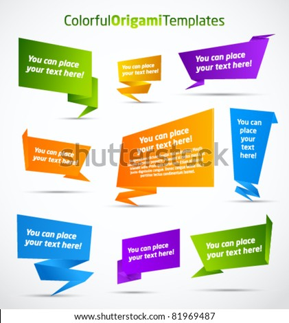 Colorful origami vector templates - stock vector