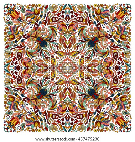 Colorful ornamental floral paisley shawl, bandanna, pillow, scarf. Square pattern. Detailed floral scarf design. Blue brown red eastern ornament on white background. Batik - stock vector