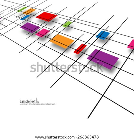 Colorful Overlapping Rectangular Shapes and Lines Design Background - stock vector