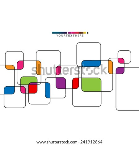 Colorful Overlapping Squares Design Background - stock vector