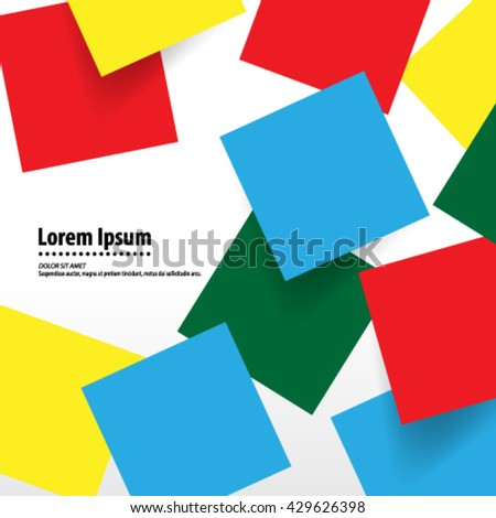 Colorful Overlapping Squares Layout/Design Cover Background - stock vector