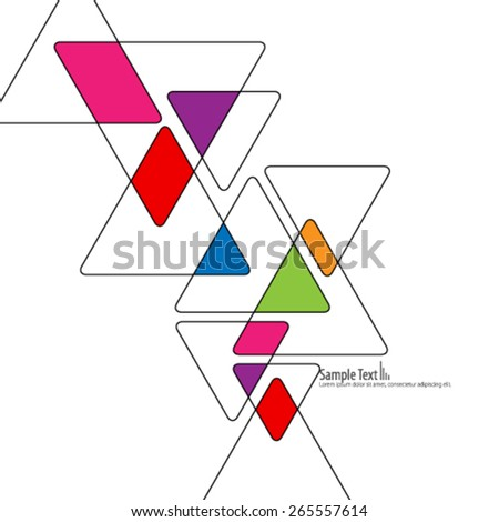 Colorful Overlapping Triangles Design Background - stock vector