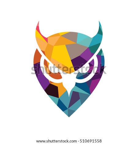 colorful owl head logo logotype