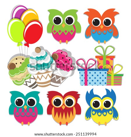 colorful owl set for birthday celebration design. vector illustration - stock vector