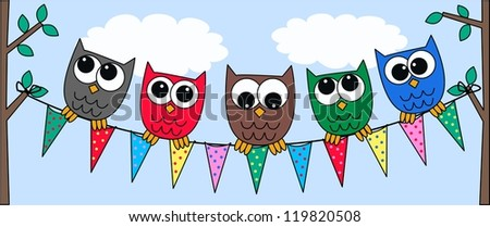 colorful owls - stock vector