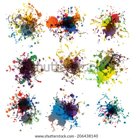 Colorful paint splashes on white. plus EPS10 vector file - stock vector