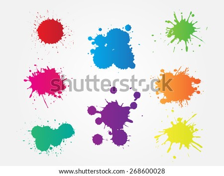 Colorful paint splat.Paint splashes set for design use.Abstract vector illustration. - stock vector