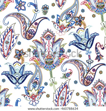 Colorful paisley pattern. Ethnic seamless doodle print for wallpaper, fabric, wrapping. vector illustration