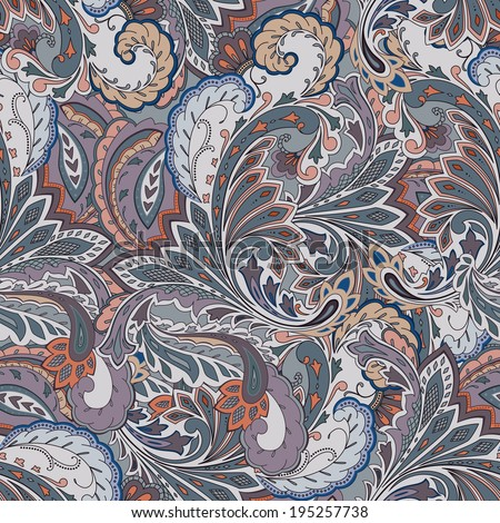 Colorful paisley seamless background  - stock vector