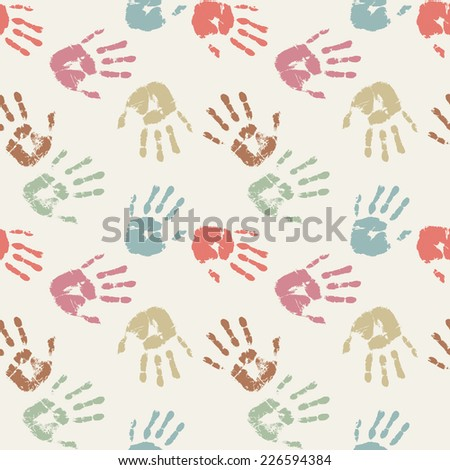 Colorful palm prints in pastel colors. Seamless background. Vector illustration - stock vector