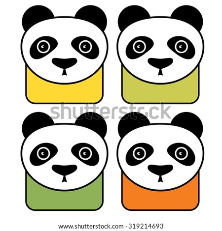 colorful panda vector icon set isolated stock vector 319214693