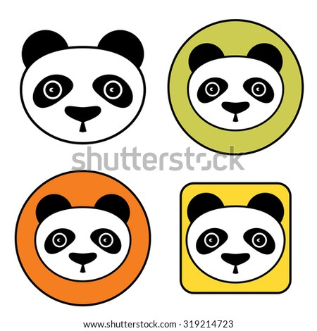 colorful panda vector icon set isolated stock vector 319214723