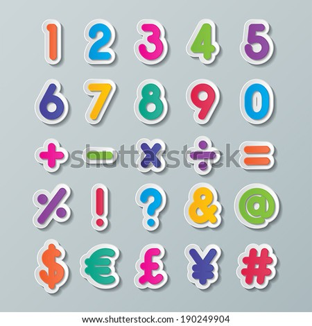 colorful paper alphabet numbers and symbols . vector.