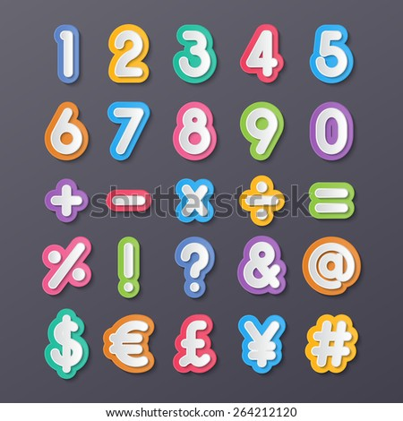 colorful paper alphabet numbers and symbols. vector.