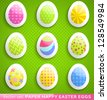 Colorful paper and plastic Easter egg icons. Vector illustration for your happy funny holiday design. Set of different simple textures. Green blue, pink, yellow and orange color. - stock vector