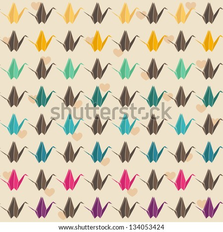Colorful paper cranes seamless pattern. - stock vector