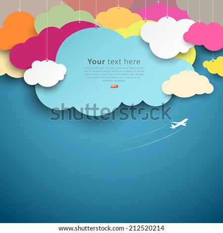 Colorful paper cut clouds shape design on blue background, vector illustrations - stock vector