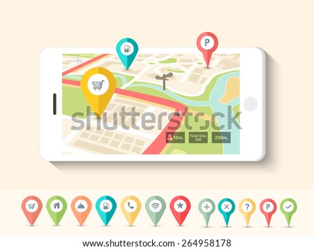 Colorful paper folded navigation pins pointing to the city map on smartphone screen. - stock vector