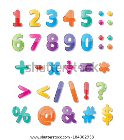 colorful paper font signs. numbers and symbols. vector.