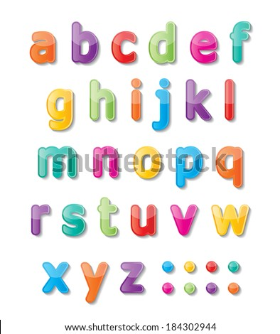 colorful paper font signs. Small alphabet letters A-Z. vector.