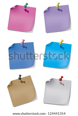 Colorful paper for the reminder and pin stripes on a white background with gray shadows. - stock vector