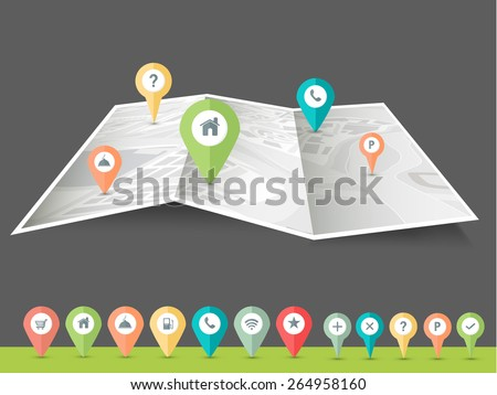 Colorful paper navigation pins pointing to the city map on grey background. - stock vector