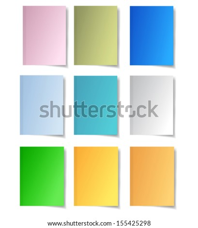 Colorful paper notes. Set of nine papers - stock vector