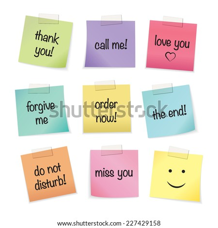 Colorful paper notes with text messages - stock vector
