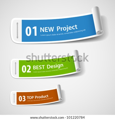 Colorful paper roll label design, vector illustration - stock vector