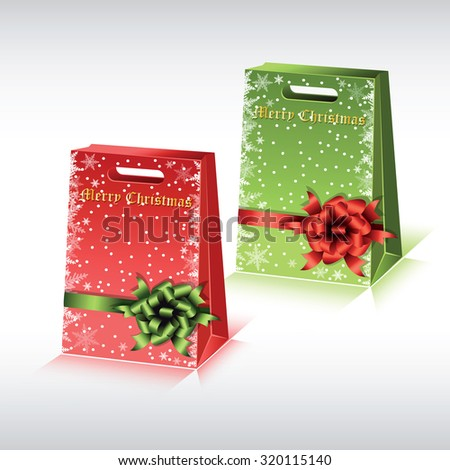 Colorful paper shopping bags isolated on white background. Vector illustration. - stock vector
