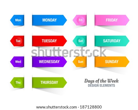 Colorful paper stripes with titles of days of the week inserted into white background - stock vector