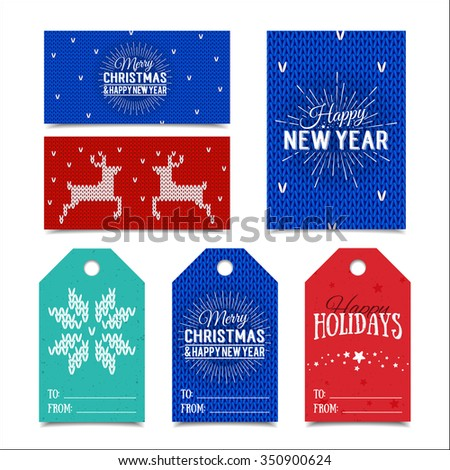 colorful paper tags and name cards for presents with happy holidays merry christmas and happy